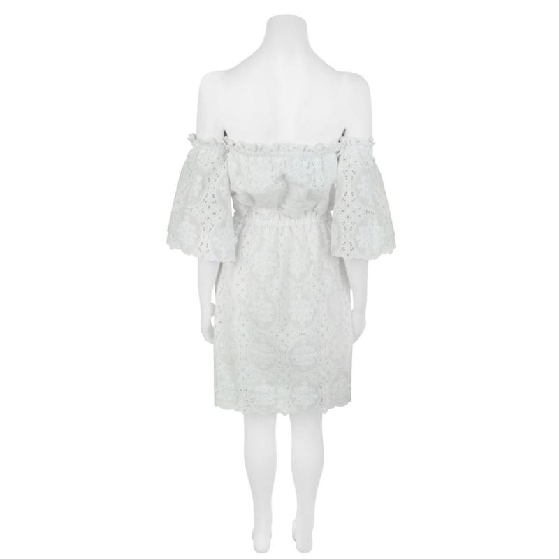 Šaty PERSEVERANCE LONDON Lace Off The Shoulder Dress OFF-WHITE