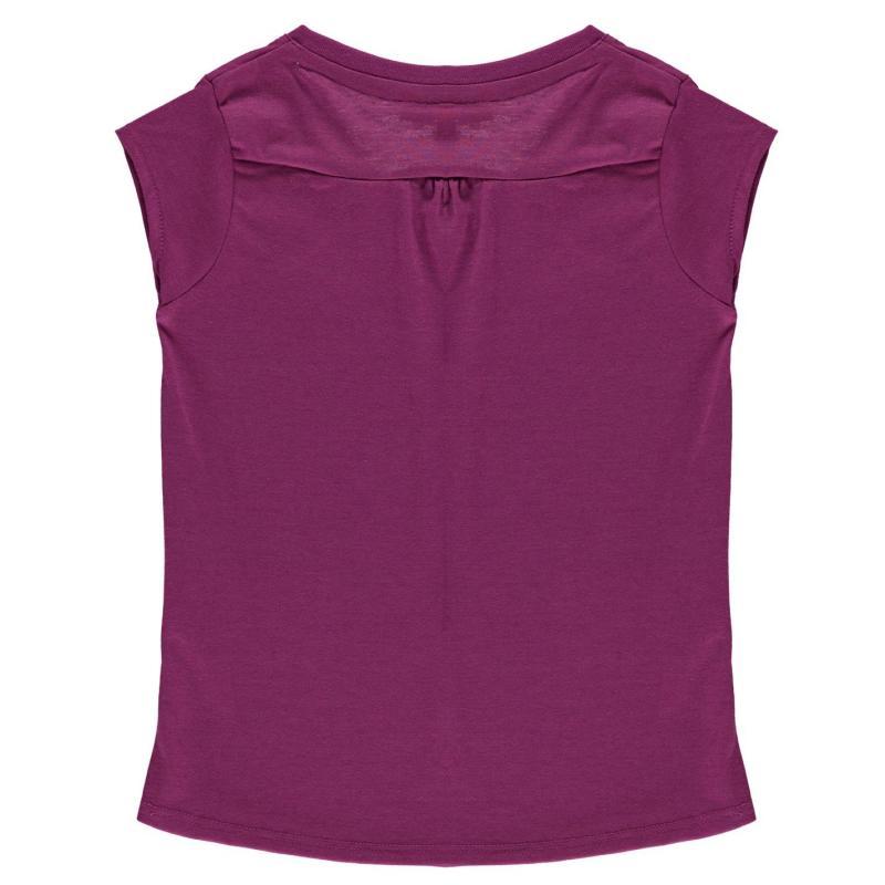 LA Gear V Neck T Shirt Junior Girls Bright Purple
