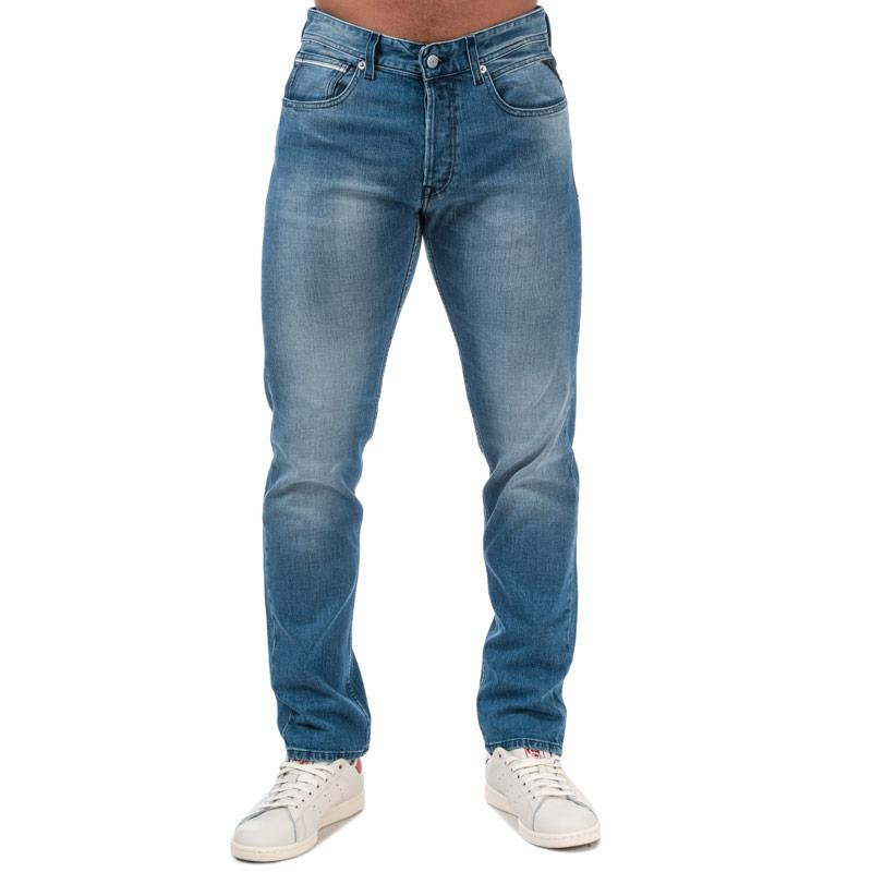 Replay Mens Grover Straight Fit Jeans Denim