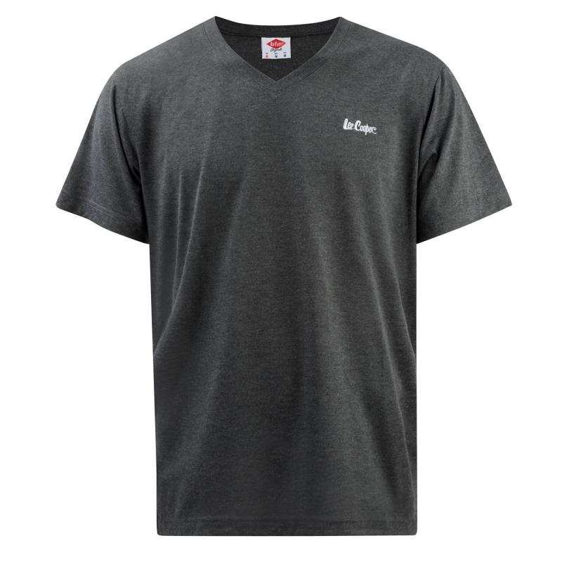 Tričko Lee Cooper V Neck T Shirt Mens Charcoal