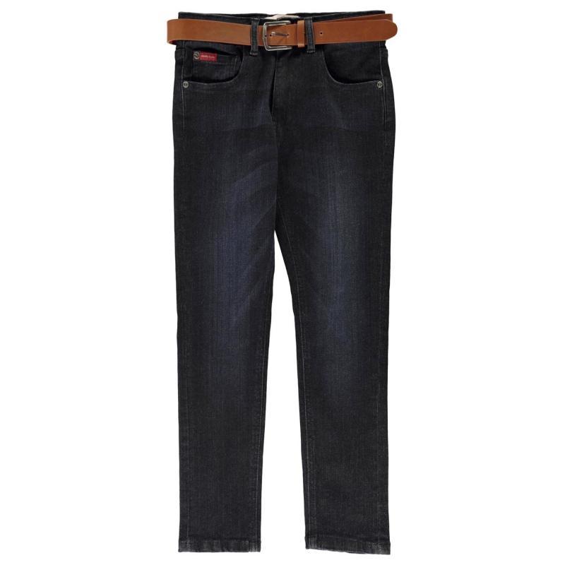 Kalhoty Lee Cooper Belted Skinny Jeans Junior Boys Dark Wash