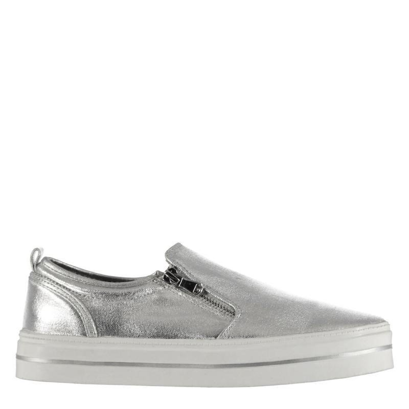 Lee Cooper Slip On Zip Ladies Trainers Silver
