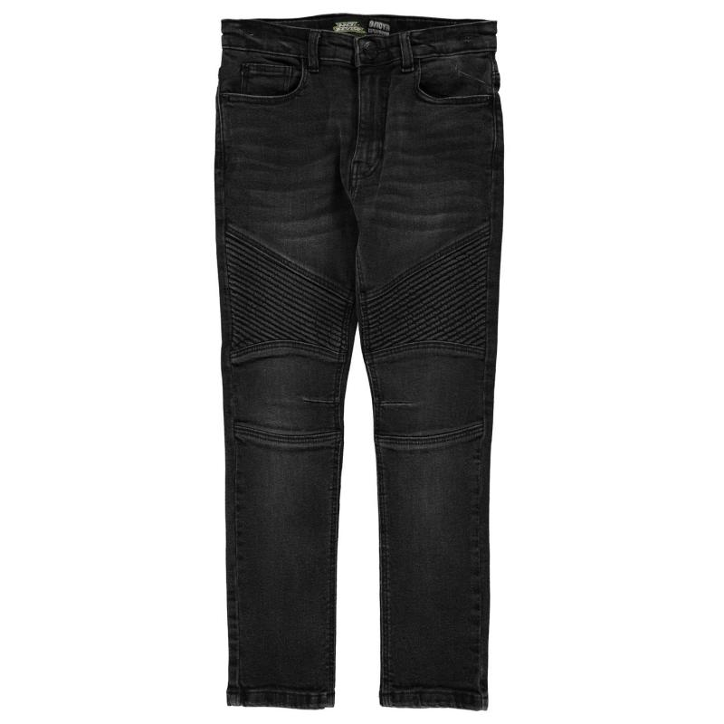 Kalhoty No Fear Boys Black Wash Biker Jeans Junior Black Wash