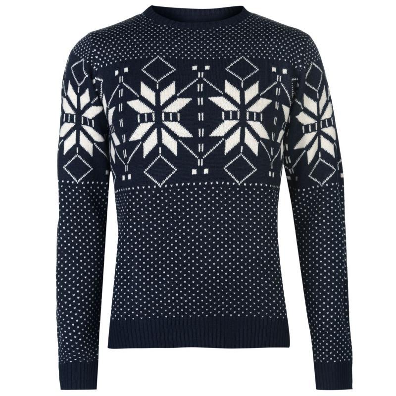 Pierre Cardin Crew Neck Fair Isle Knit Sweater Mens Navy