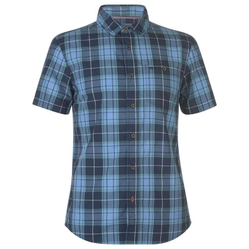 SoulCal Check Short Sleeve Shirt Mens Navy/Blue/Green