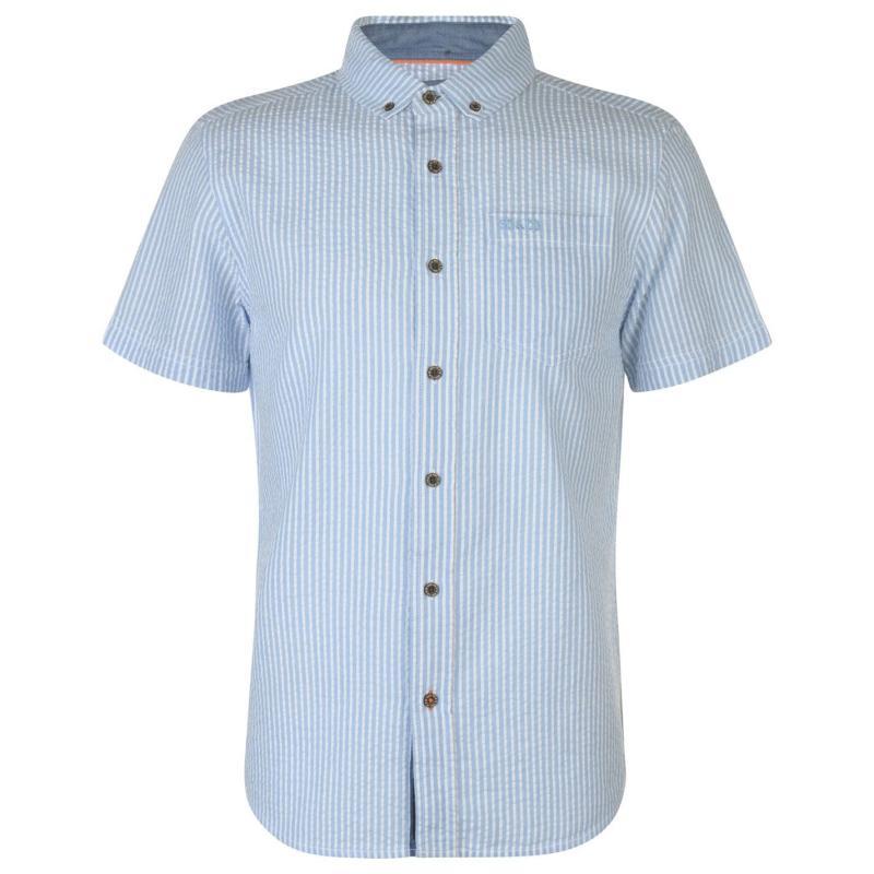 SoulCal Short Sleeve Striped Shirt Mens Blue/White