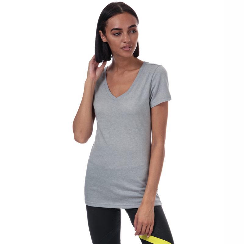 Reebok Womens V-Neck T-Shirt Grey Marl
