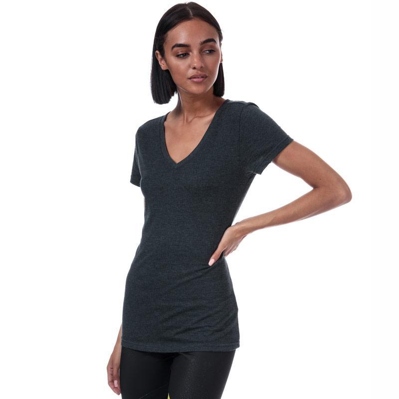 Reebok Womens V-Neck T-Shirt Black