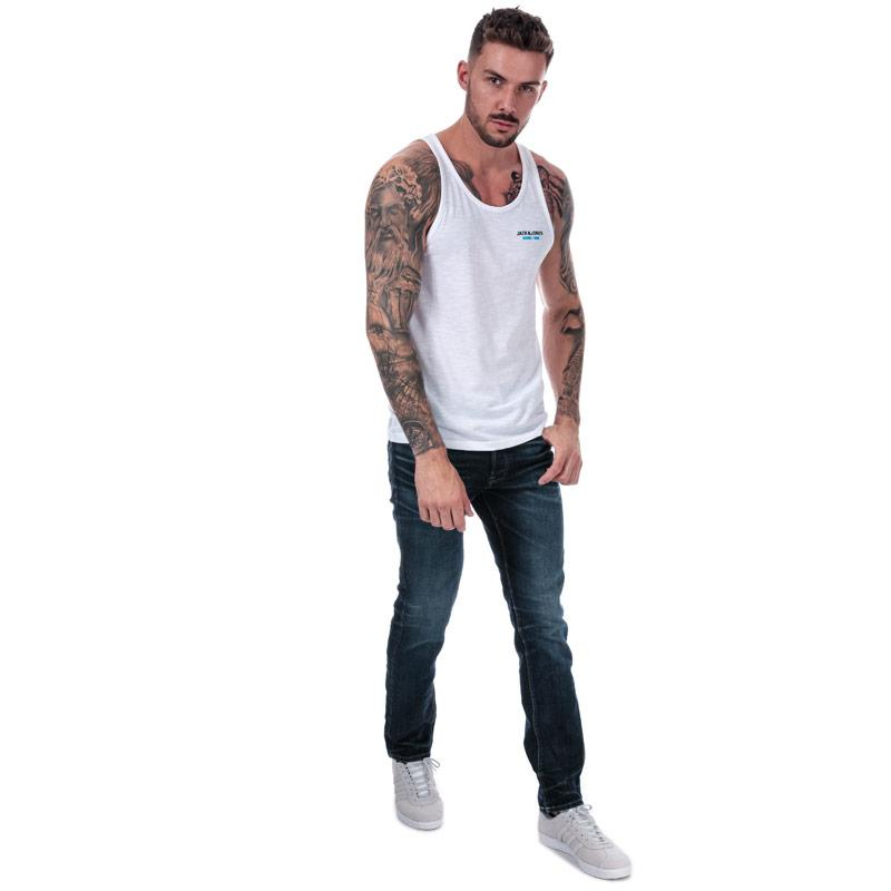 Tílko Jack Jones Mens Scales Tank Vest Top White