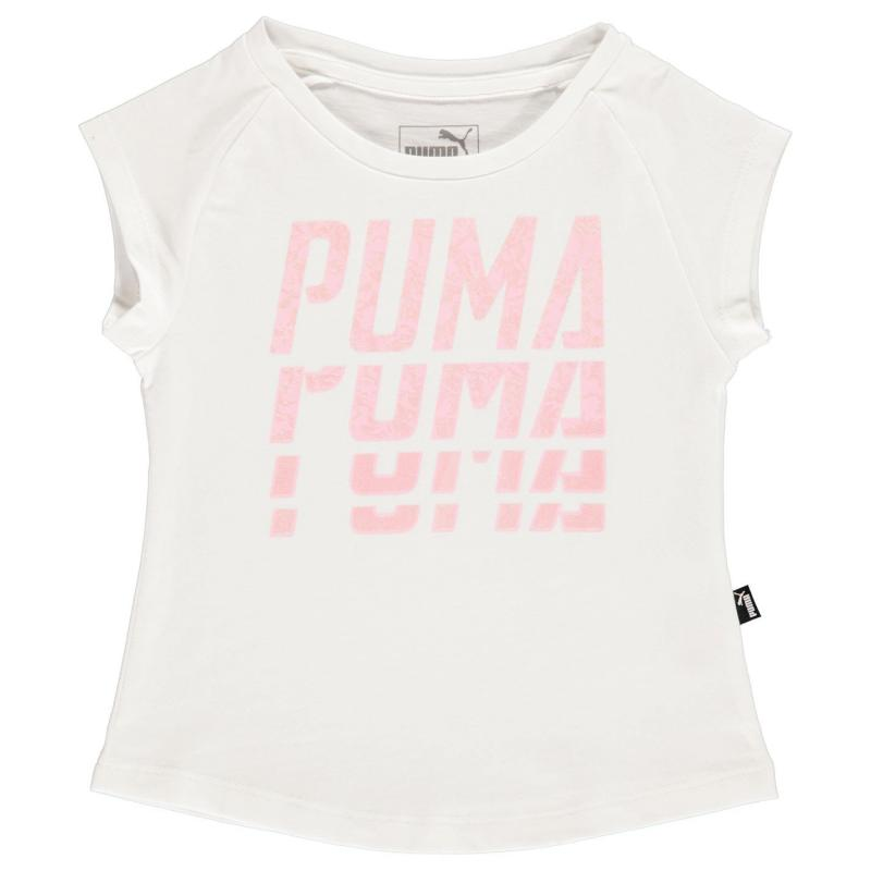 Puma Word T Shirt Infant Girls White/Pink