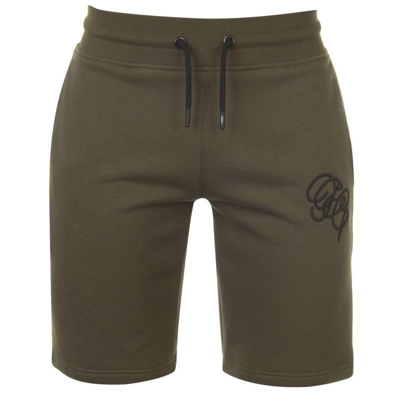 Fabric Embroidered Jogging Shorts Khaki