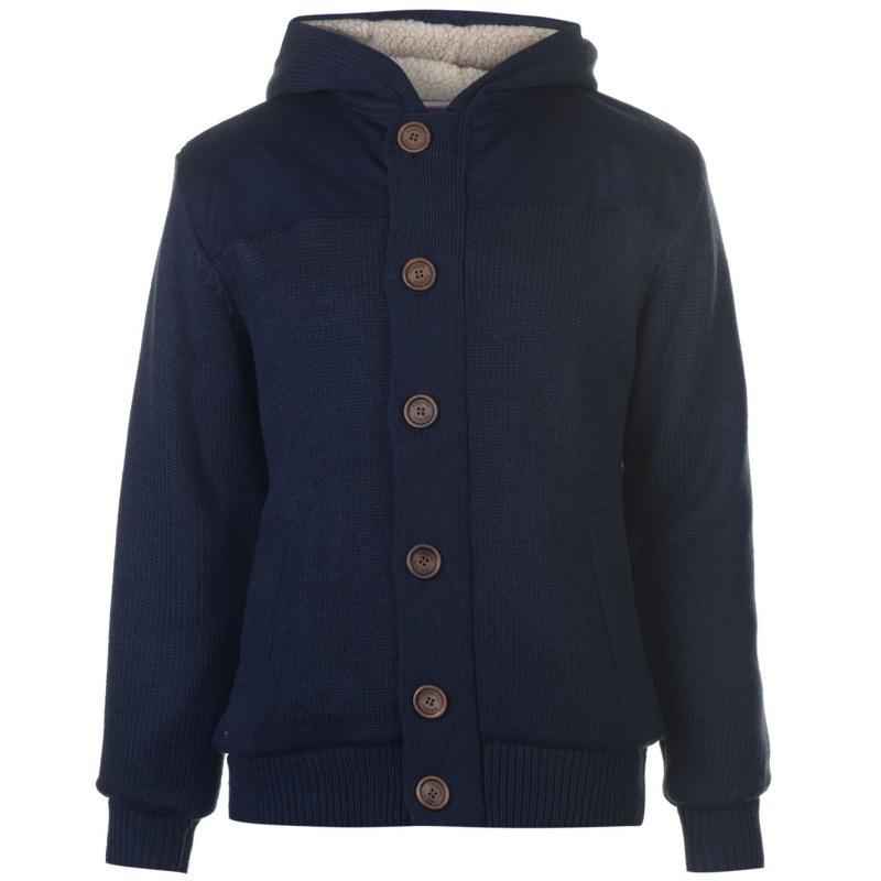 Kangol Button Lined Knit Cardigan Mens Dark Navy