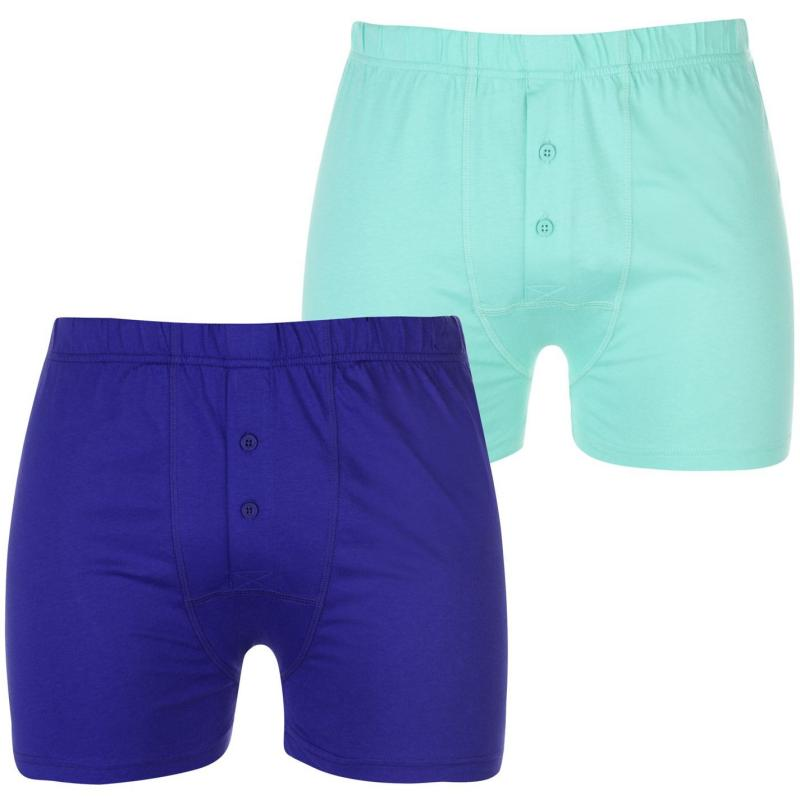 Spodní prádlo Lonsdale 2 Pack Boxers Mens Blue/Spearmint