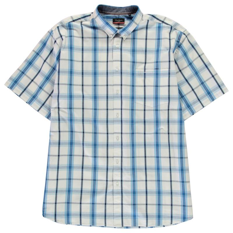 Pierre Cardin Regular Fit Check Shirt Mens White/Blue