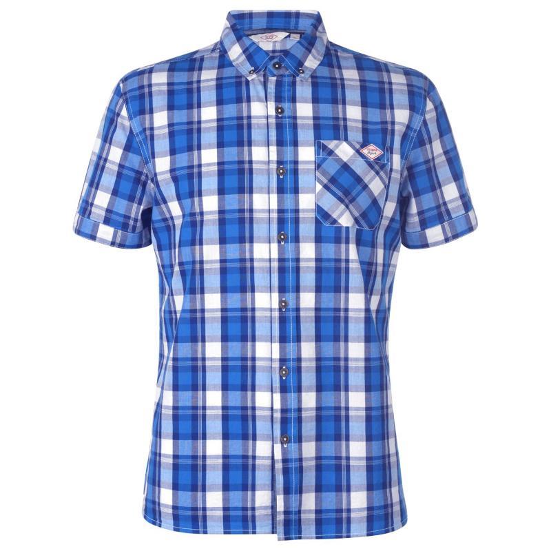 Lee Cooper Short Sleeve Check Shirt Mens Royal/Navy/Whte