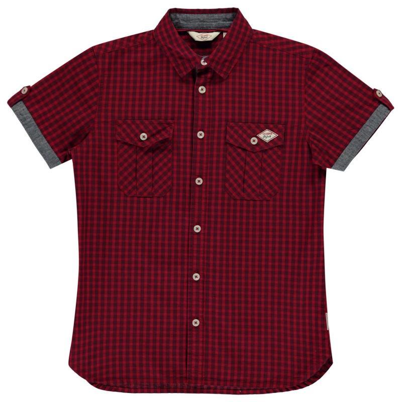 Košile Lee Cooper Short Sleeve Gingham Shirt Junior Boys Red/Navy
