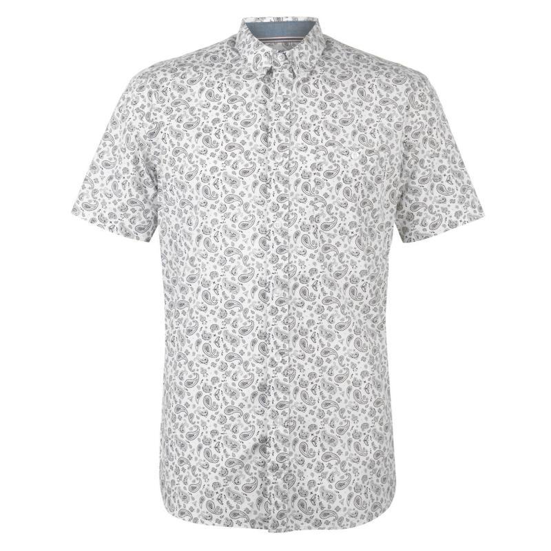 Pierre Cardin Short Sleeve Geometric Shirt Mens Wht/Blk Paisley