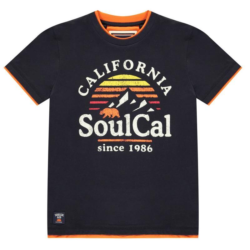 Tričko SoulCal Long Line T Shirt Junior Boys Navy