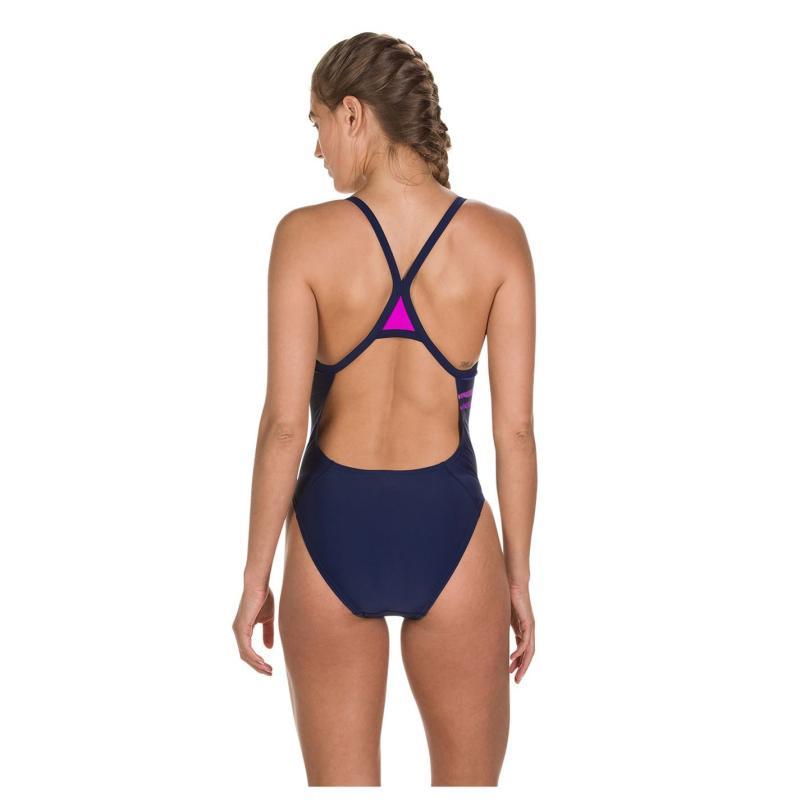 Plavky Speedo Boom Plummet Thin Strap Swimsuit Ladies Navy/Neon