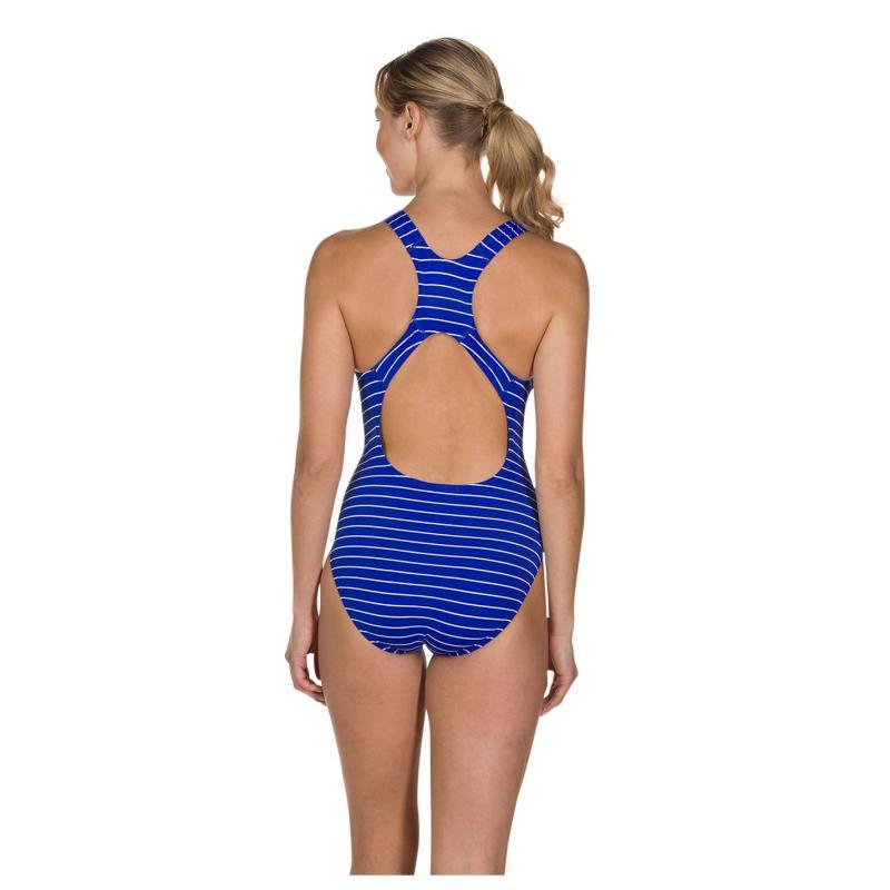 Plavky Speedo Endurance+ Printed Medalist Swimsuit Ladies Blue/White