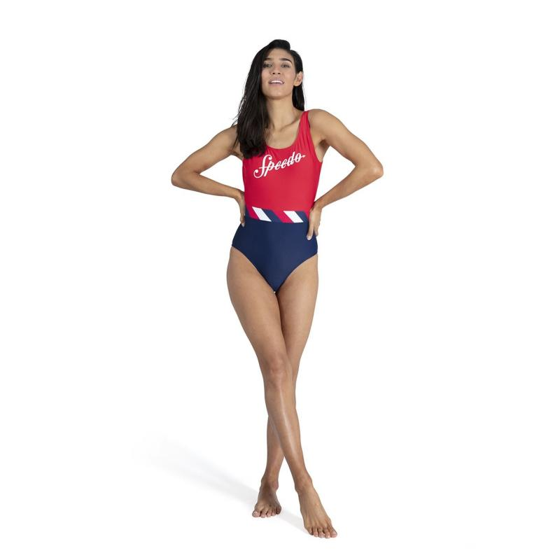 Plavky Speedo Heritage Shoreline U Back Swimsuit Ladies Navy/Red
