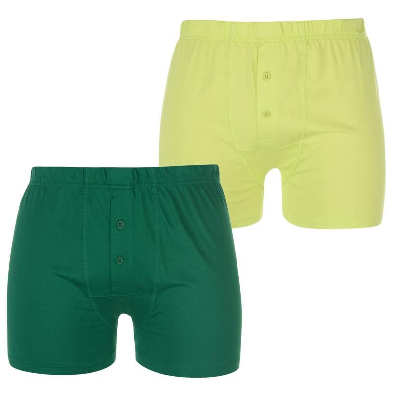 Spodní prádlo Lonsdale 2 Pack Boxers Mens Green/Lime