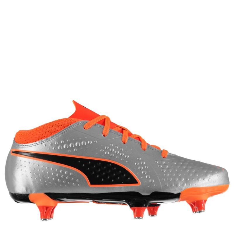 Puma One 4 Junior SG Football Boots Silver/Ornge/Bk