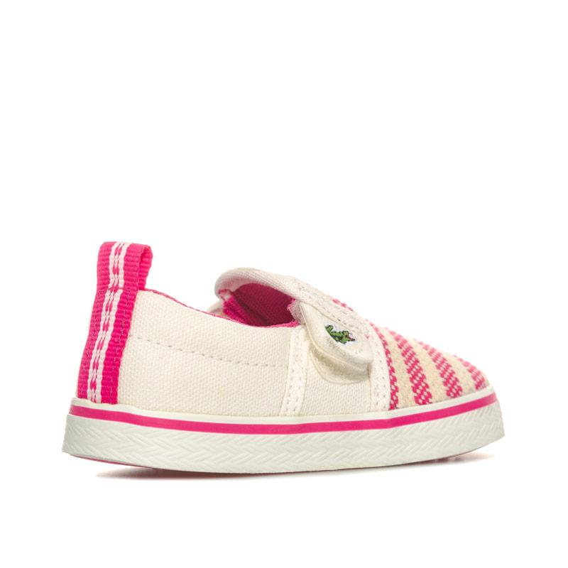 Lacoste Infant Girls Gazon Slip On Trainers White pink