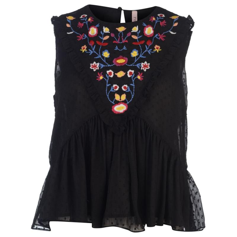 Košile Rock and Rags Embroidered Blouse Ladies Black