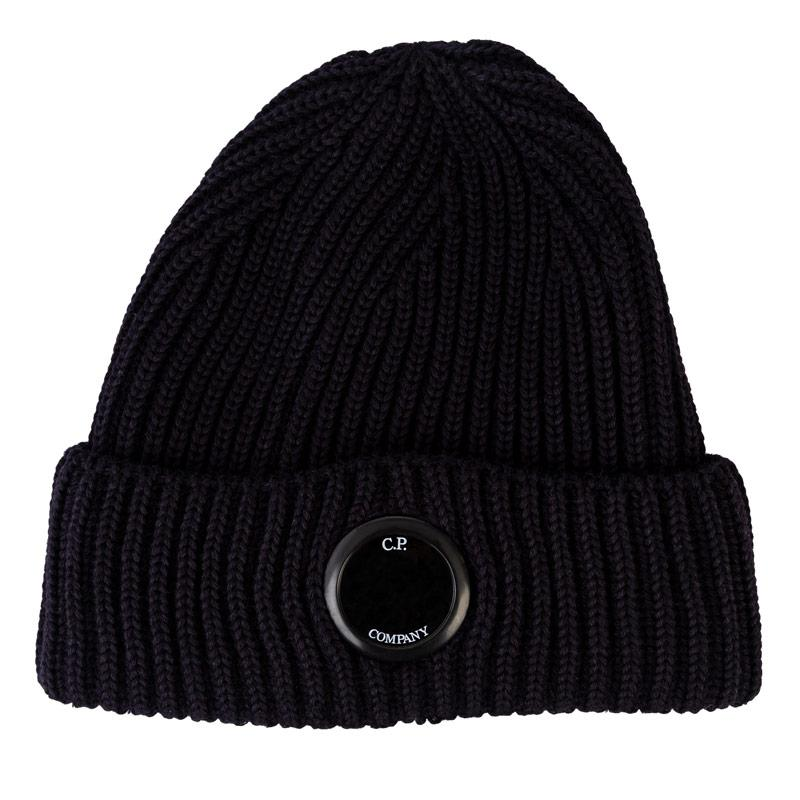 C.P. Company Mens Knitted Goggle Beanie Black