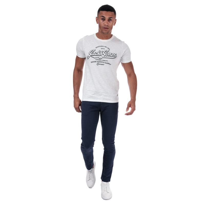 Tričko Jack Jones Mens Logo Blue Crew T-Shirt White