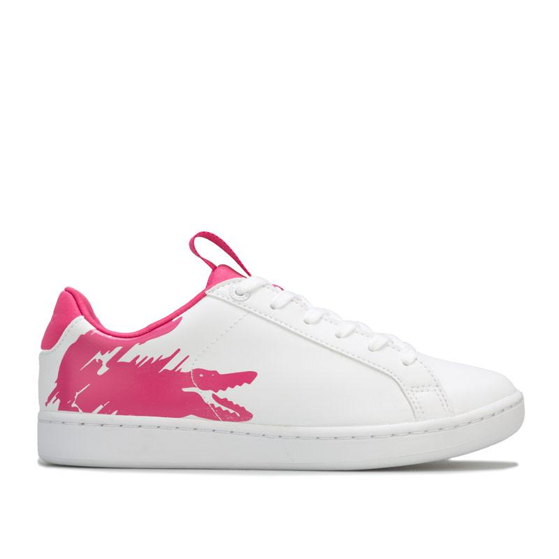 Lacoste Junior Girls Carnaby Evo Trainers White pink