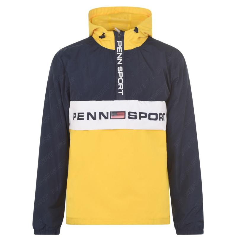 PENN AOP Half Zip Jacket Mens Yellow/Navy