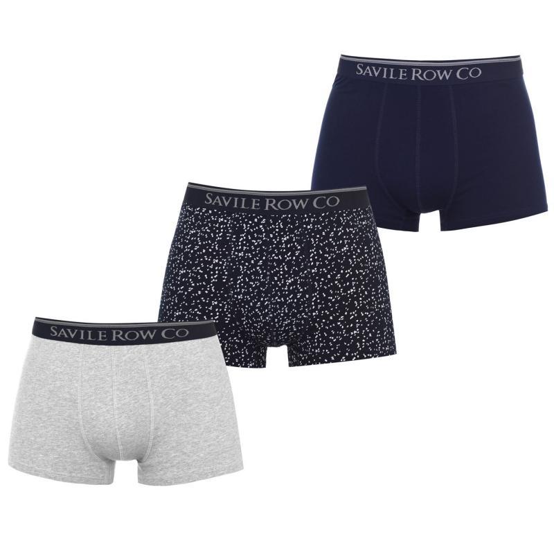 Spodní prádlo Saville Row 3 Pack Trunks Mens NavyPrt/Navy/Gr