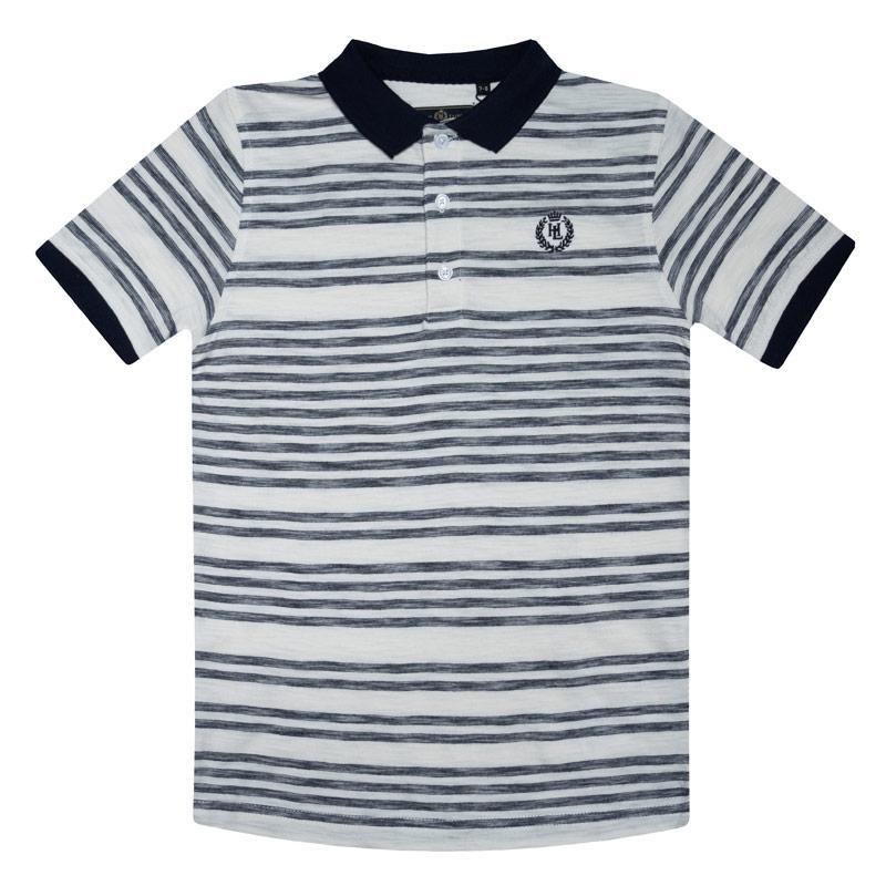 Tričko Henri Lloyd Junior Boys Engineered Slub Stripe Polo Shirt Blue