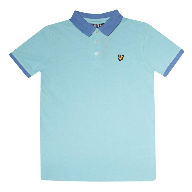 Tričko Lyle And Scott Junior Boys Ringer Polo Shirt aqua