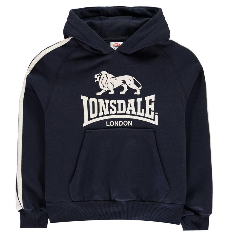 Lonsdale 2 Stripe OTH Hoodie Junior Boys Navy/White