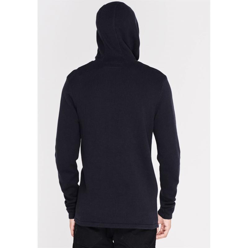 Firetrap Hooded Knit Jumper Mens Dark Navy
