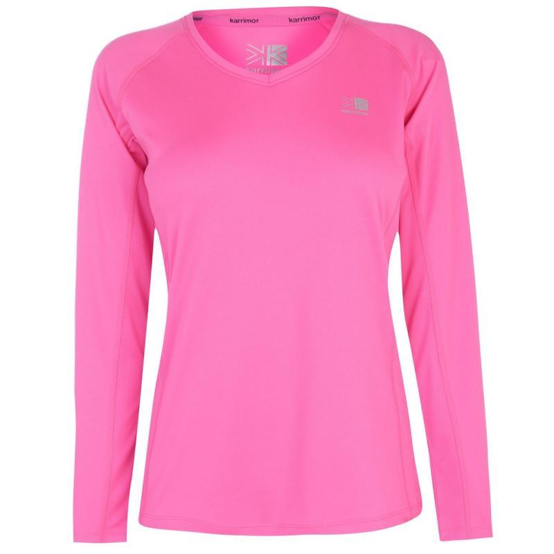 Tričko Karrimor Long Sleeve Running T Shirt Ladies Fluo Pink
