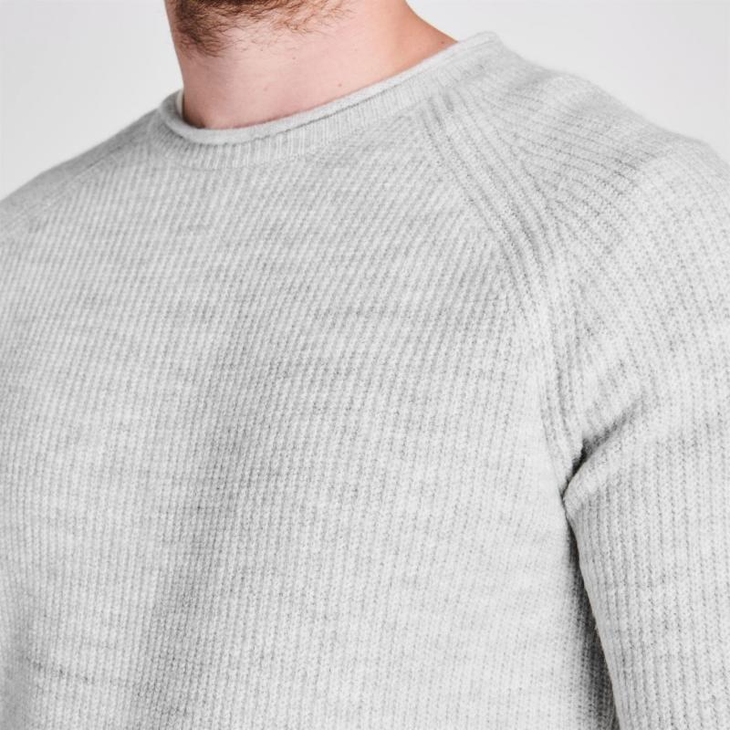 Firetrap Textured Knit Jumper Mens Grey
