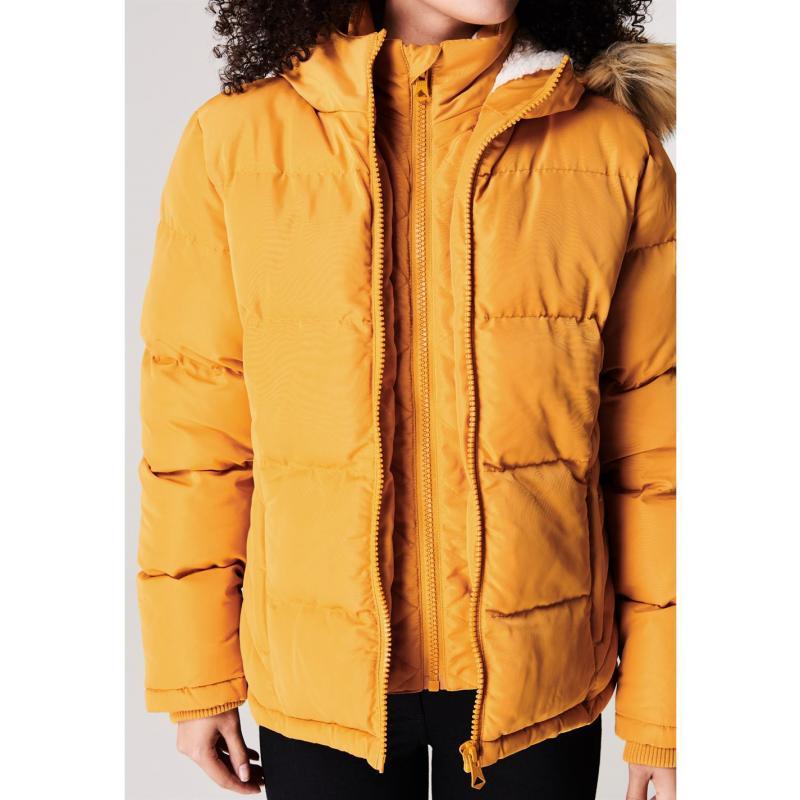 SoulCal 2 Zip Bubble Jacket Ladies Mustard