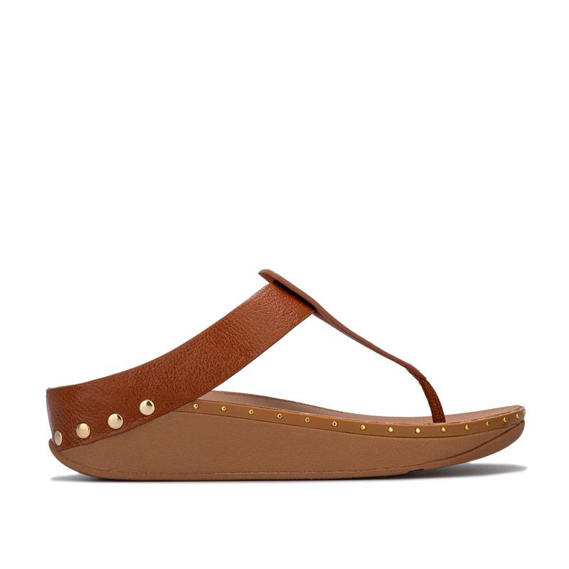 Boty Fit Flop Womens Isabelle Stud Toe Thong Sandals Tan