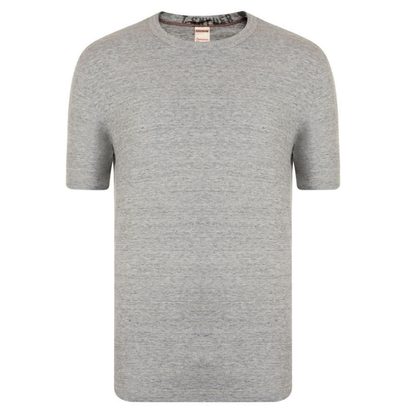 Tričko Champion Neck T Shirt Mens Grey Hthr