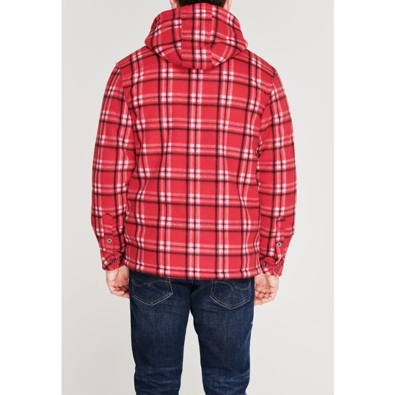 Dunlop Full Zip Checked Hoodie Mens Red