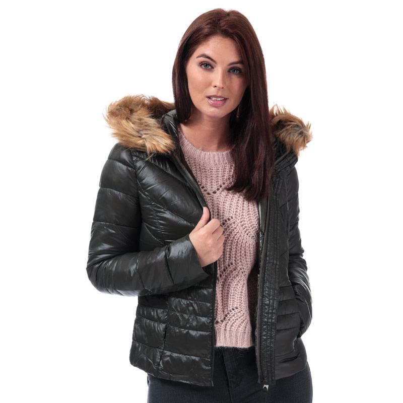 Vero Moda Womens Soraya Siv Faux Fur Trim Jacket olive