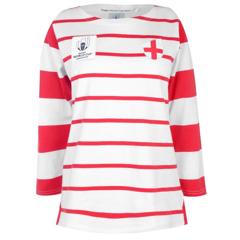 Tričko Rugby World Cup 2019 Long Sleeve T Shirt Ladies Eng White/Red