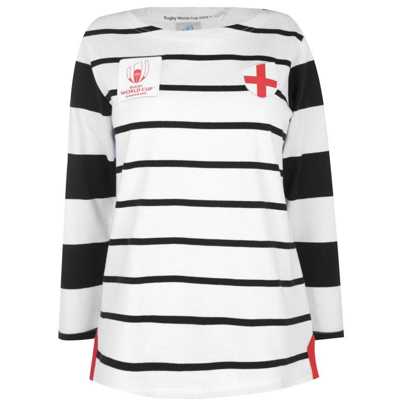 Tričko Rugby World Cup 2019 Long Sleeve T Shirt Ladies Eng White/Blk