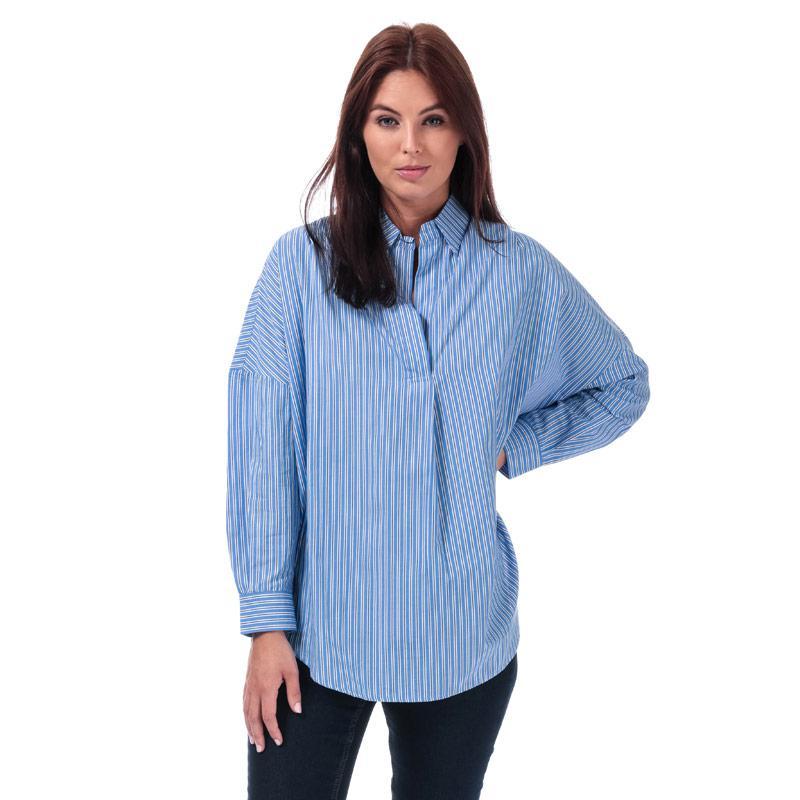 French Connection Womens Bega Stripe Dip Hem Shirt Blue