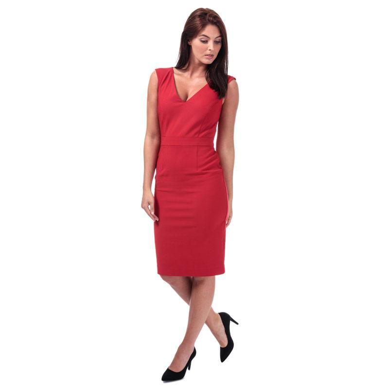 Šaty French Connection Womens Glass Stretch V-Neck Dress Red