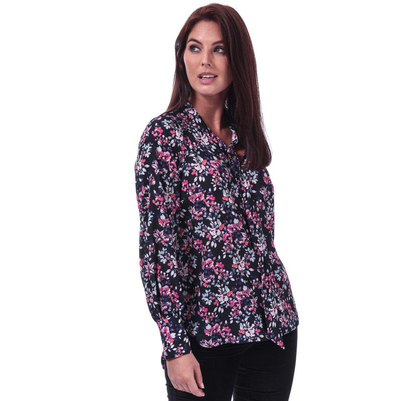 French Connection Womens Linosa Crepe Light Floral Blouse Blue